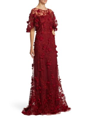 Embellished Floral Applique Gown