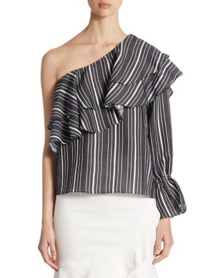 Ruffled Striped One-Shoulder Top