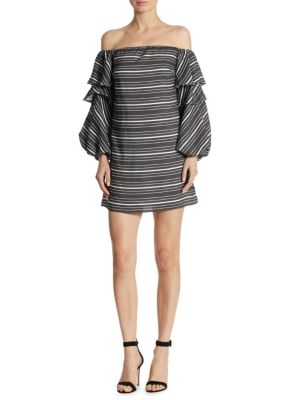 SCRIPTED Tiered Off-The-Shoulder Mini Dress