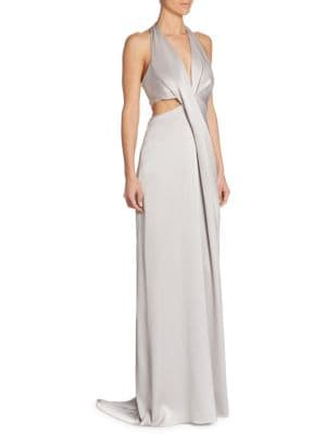 Solid Deep V-Neck Gown