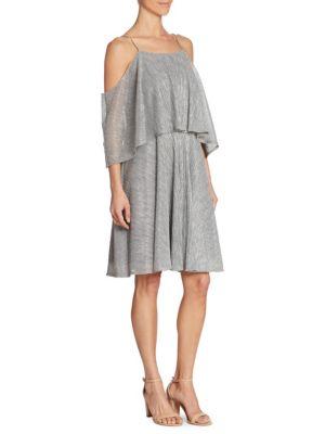 Textured Metallic Cold-Shoulder Dress