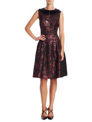 Velvet Applique A-Line Dress