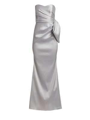 Mikado Strapless Flared Gown