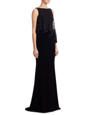 Velvet Floor-Length Sheath Gown