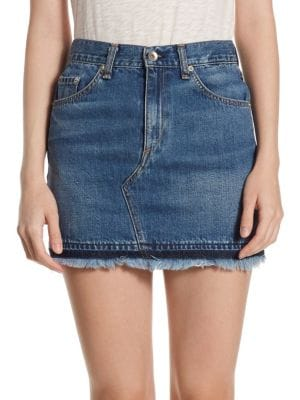 Dive High-Rise Cotton Mini Skirt With Frayed Hem