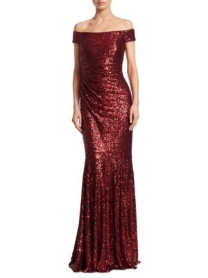 Ruched Sequined Gown