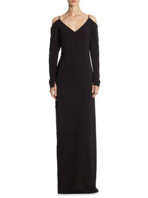 Cold Shoulder Draped Floor-Length Gown