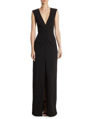 V-Neck Ruch Floor-Length Gown