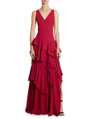 Wide V-Neck Flounce Knee-Length Gown
