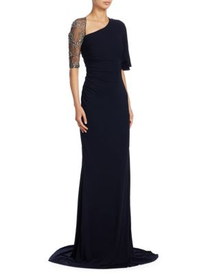 Asymmetric Beaded Sleeve Gown