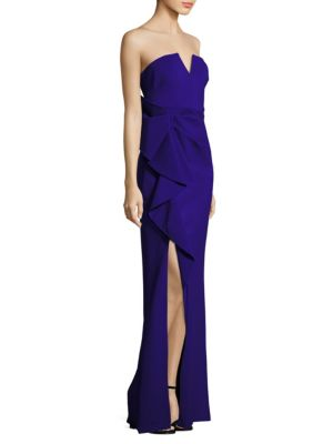 Strapless Crepe Long Gown