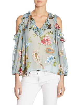 Gia Ruffled Cold Shoulder Blouse by Alice + Olivia