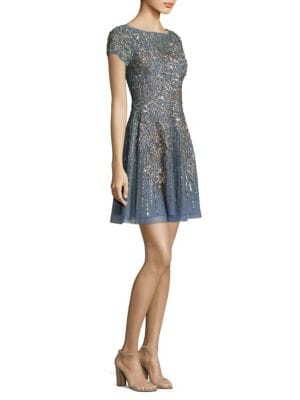 Beaded Fit-&-Flare Cocktail Dress