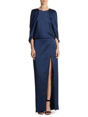 Cape-Sleeve Floor-Length Gown