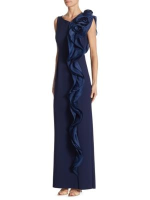 Scuba Side Ruffle Navy Dress