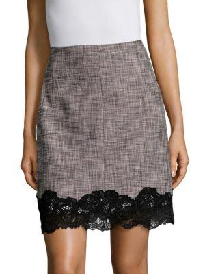 Slub Lace-Trimmed Mini-Skirt