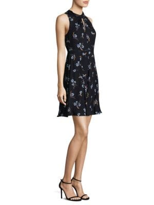 Natalie Silk A-Line Dress with Cutouts