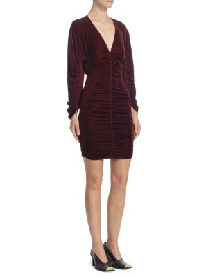 Velvet Ruched Mini Dress