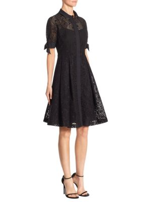 Pleated Cotton Perforated Dress