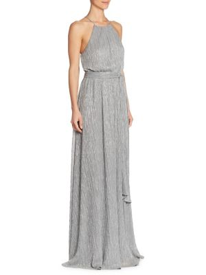 Front Slit Floor-Length Gown