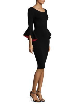 Contrast Draped Sleeve Sheath Dress