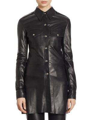Leather Button-Front Shirt by CALVIN KLEIN 205W39NYC