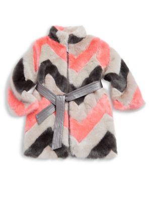 Toddler's, Little Girl's & Girl's Zigzag Faux Fur Coat