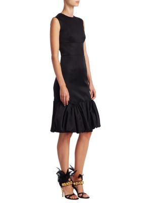 Double Mikado Ruffle-Hem Dress