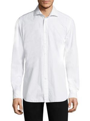 Luciano Barbera棉制宽角领正装衬衫