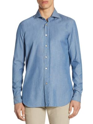 Textured Dyed Cotton Casual Button-Down Shirt