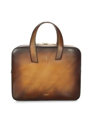 CORTHAY Zip-Up Leather Briefcase