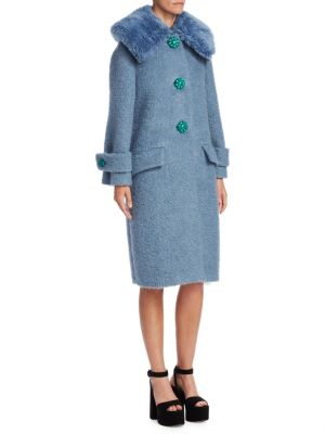 Felted Boucle Coat with Faux Fur Collar