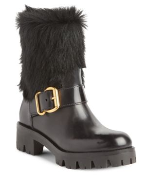 Shearling & Leather Moto Boots