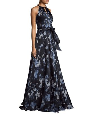 Halterneck Printed Ball Gown