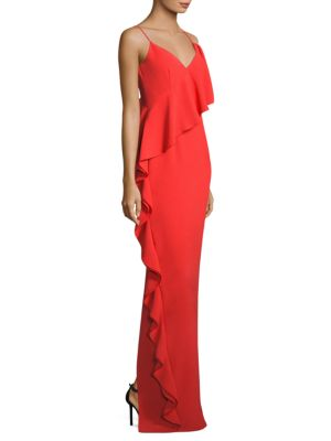 Moore Ruffled V-Neck Gown
