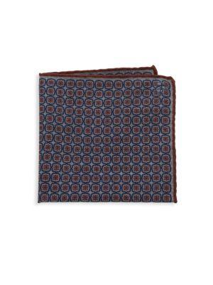 Floral Print Wool Pocket Square