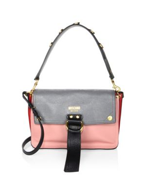 Colorblock Faux Leather Shoulder Bag