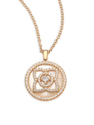 Enchanted Lotus Reversible Diamond & Mother-Of-Pearl Pendant Necklace