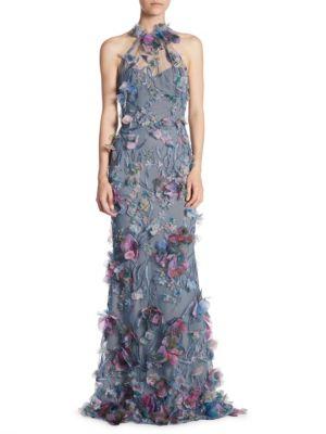 Floral Embroidered Halterneck Dress