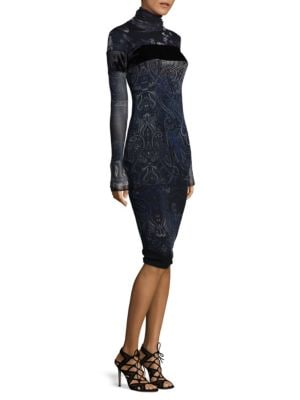 Velvet Paisley Long sleeves Dress