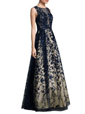 Embroidered Overlay Floor-Length Gown