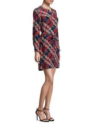 Janny Plaid Print Silk Dress