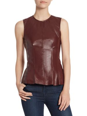 Darted Combo Leather Top
