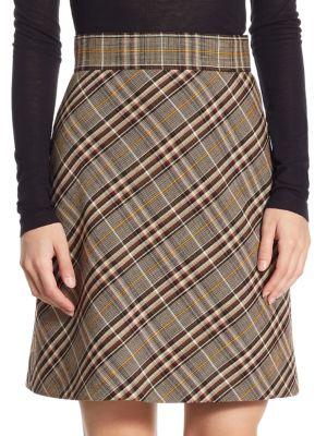 A-Line Stripe Wool Mini Skirt