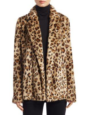 Clairene Leopard-Print Faux Fur Coat