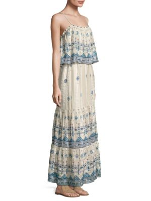 Sorne B Printed Silk Maxi Dress