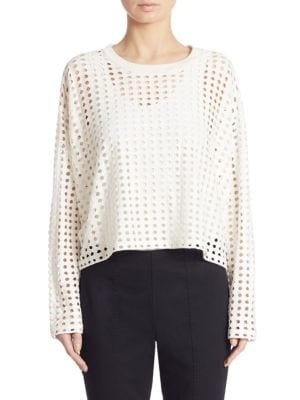 Perforated Long Sleeve Top by T by Alexander Wang