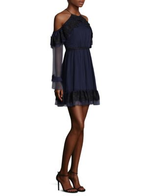 Frill Seeker Cold Shoulder A-Line Dress