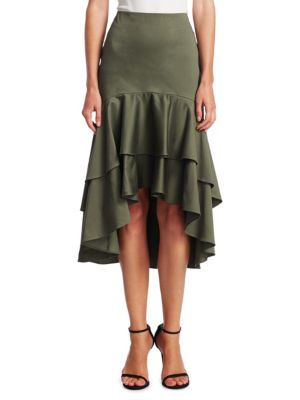 SCRIPTED Tiered Ruffle Midi Skirt