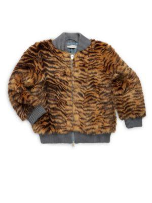 Girl's Tilly Tiger Print Faux Fur Bomber